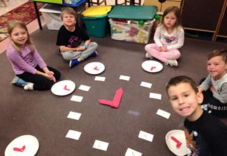 Making clocks and taking the position of a number on the clock to learn about telling time!